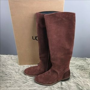Ugg Daley Tall Suede Mahogany Riding Boot 6.5 Wide